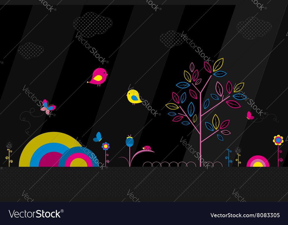 Fantasy park on black background vector image