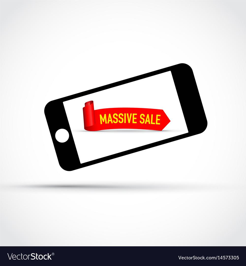 Mobile phone massive sale background vector image