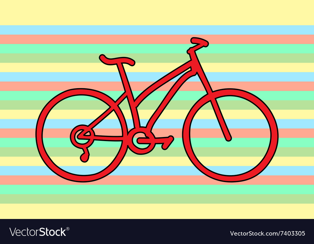 Red bicycle rainbow colors vector image