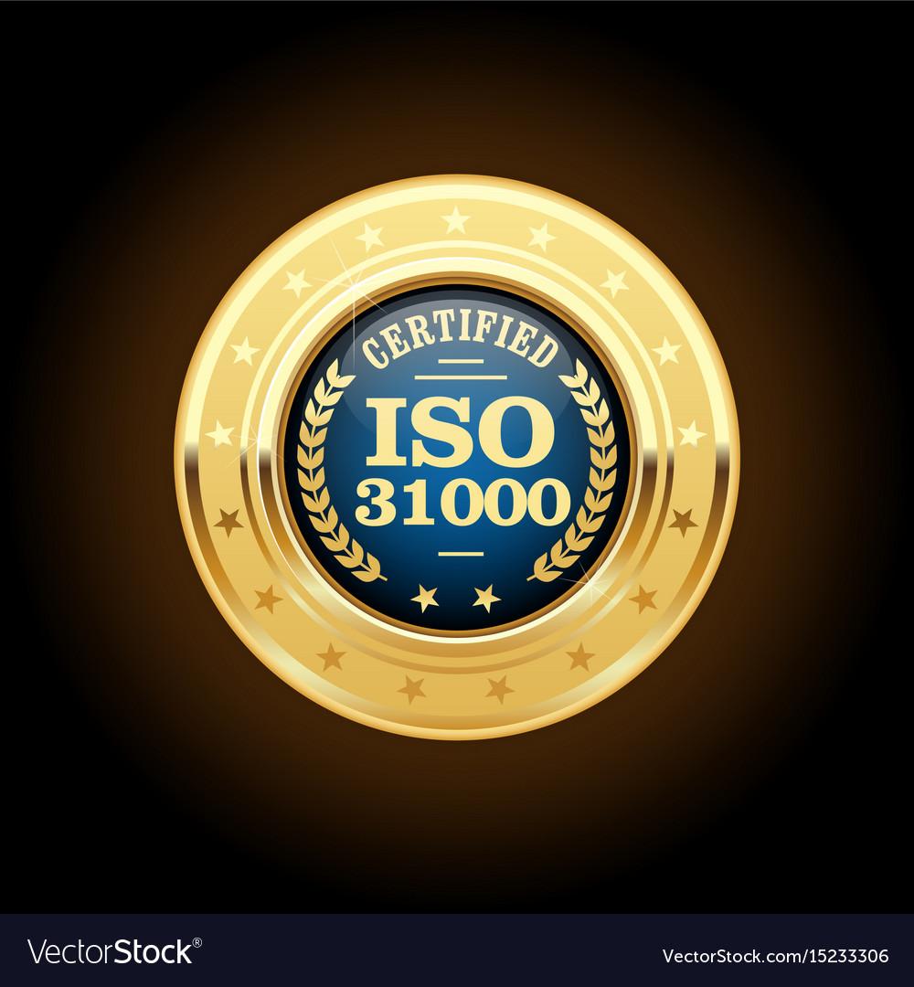 Iso 31000 standard medal - risk management vector image