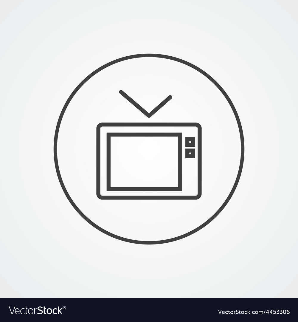 Tv outline symbol dark on white background logo vector image