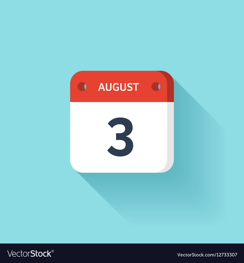 August 3 Isometric Calendar Icon With Shadow vector image