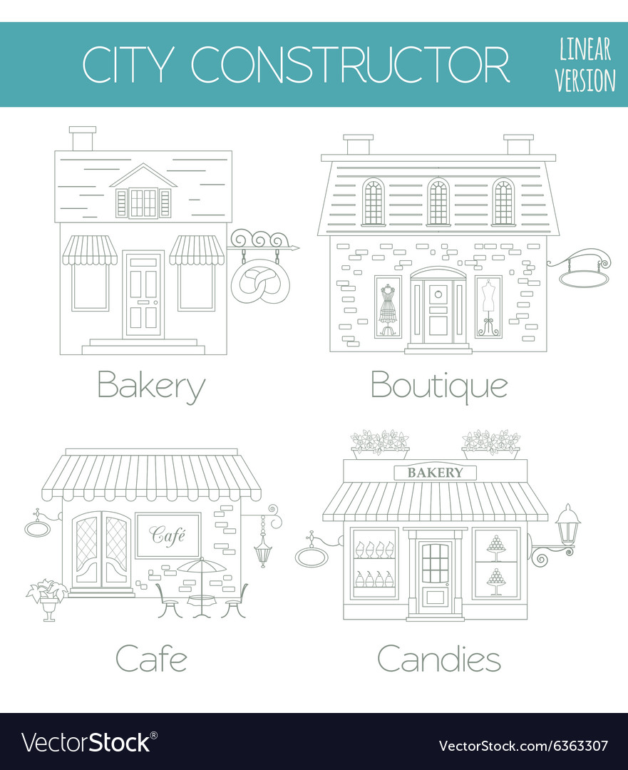 great city map creator outline version house vector image - House Map Creator