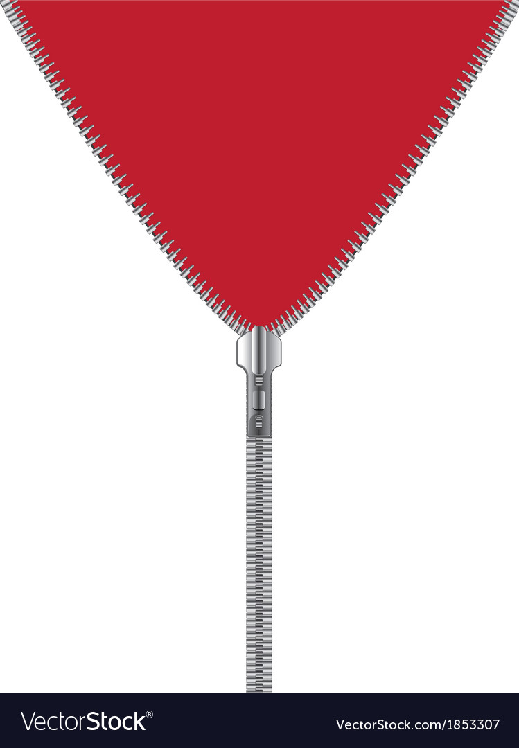 Zipper with red and white background vector image