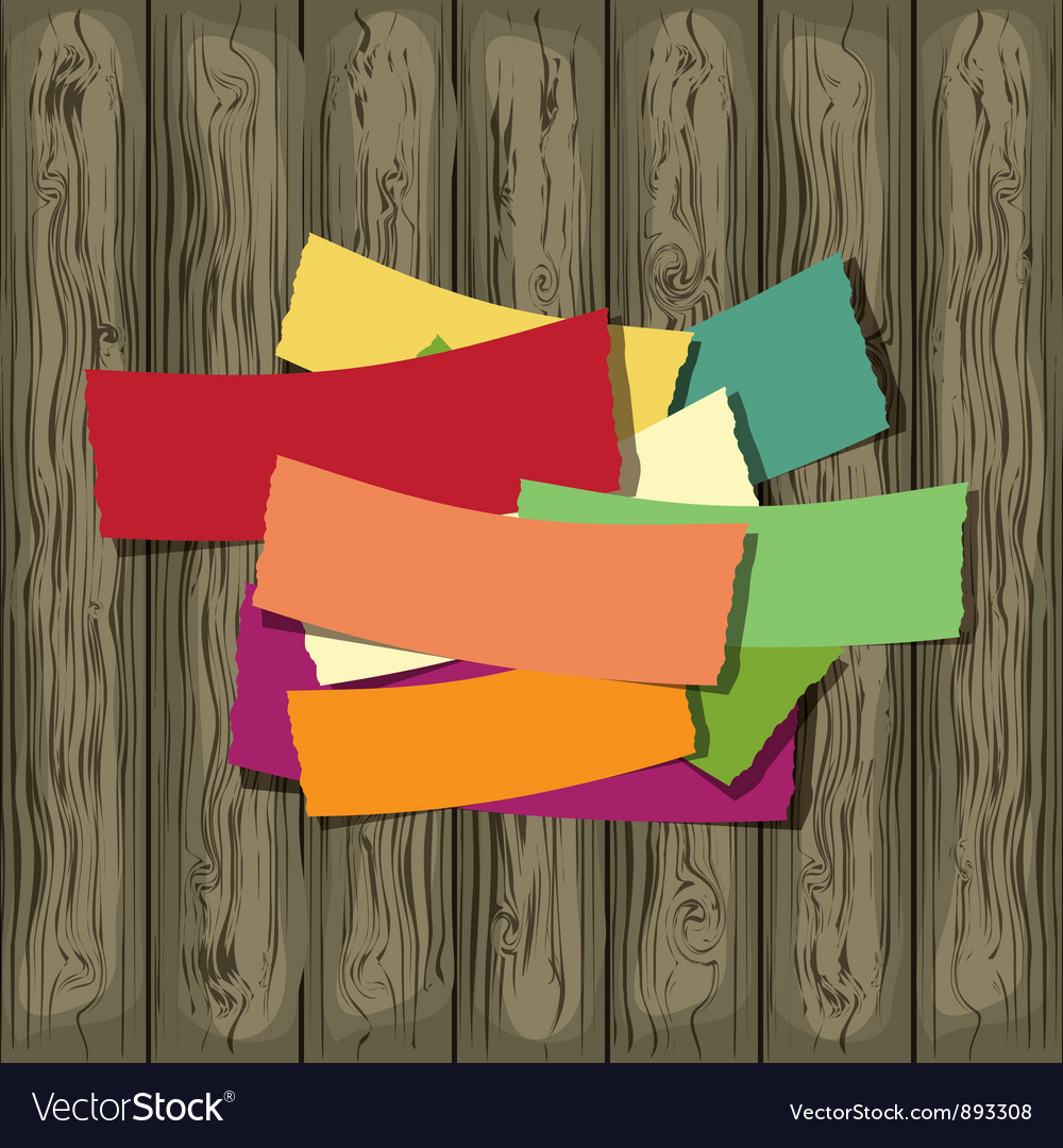 Paper on the wooden background vector image