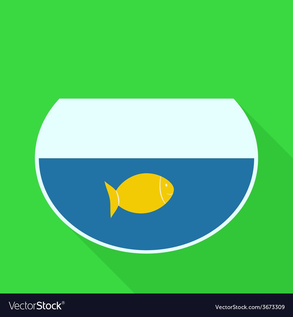 Aquarium with Gold Fish Flat Design Icon vector image