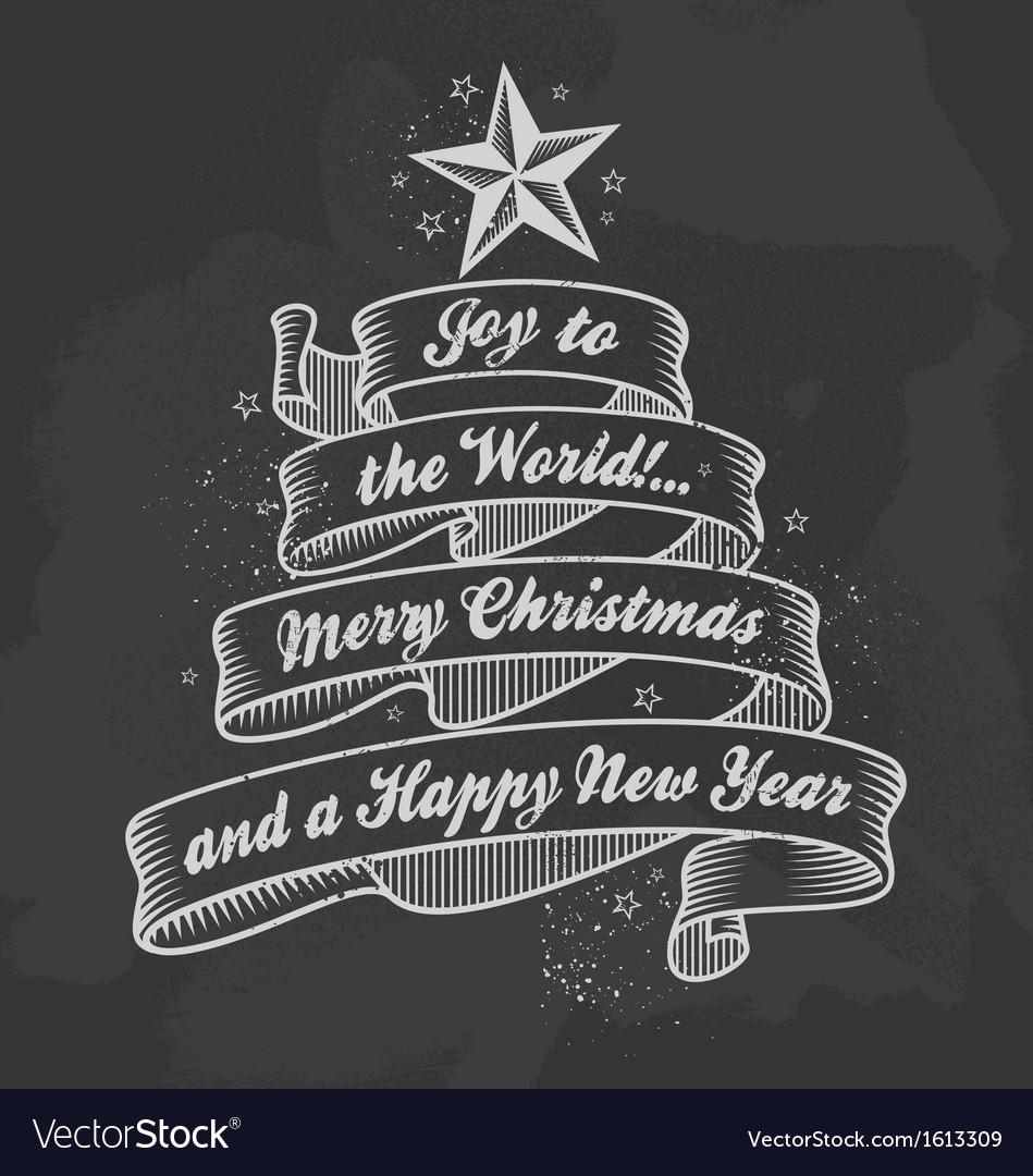 Retro Chalkboard Christmas calligraphy banner vector image