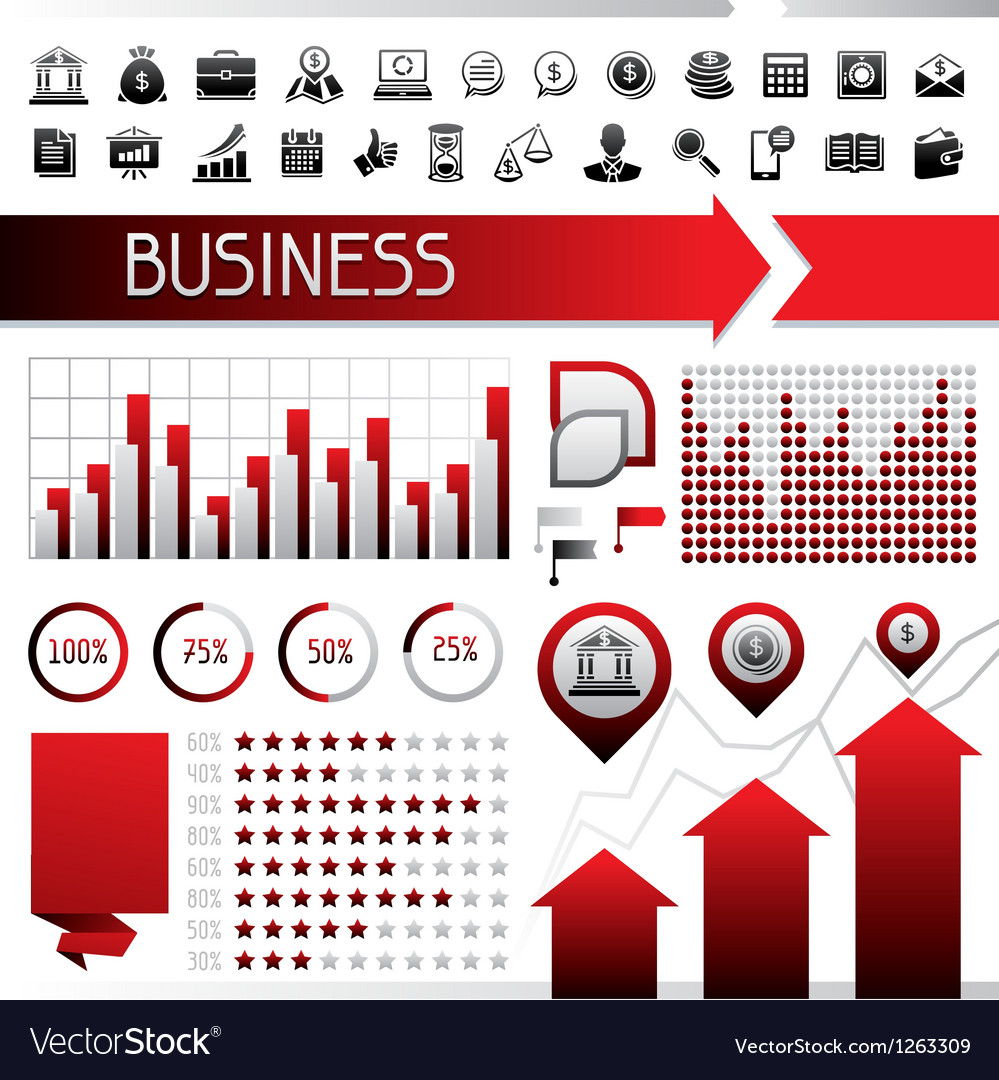 Set of infographics and business icons vector image