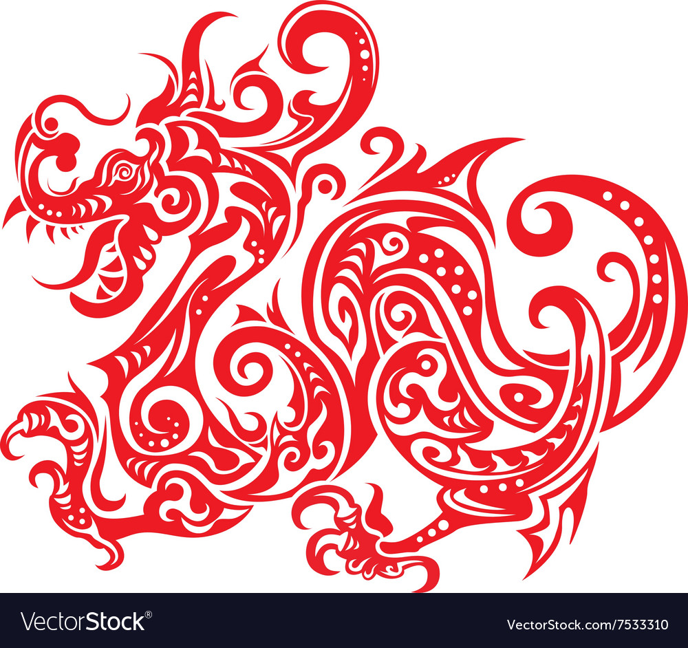 chinese paper cutting templates dragon - chinese new year dragon icon paper cut royalty free vector
