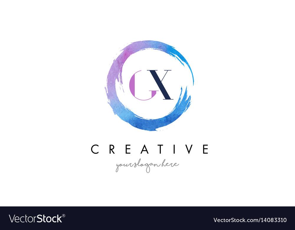 Gx letter logo circular purple splash brush vector image