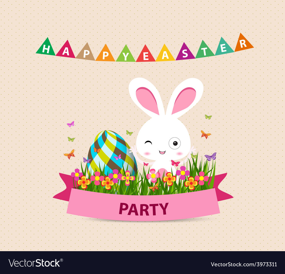 happy easter party bunny eggs and bunny royalty free vector