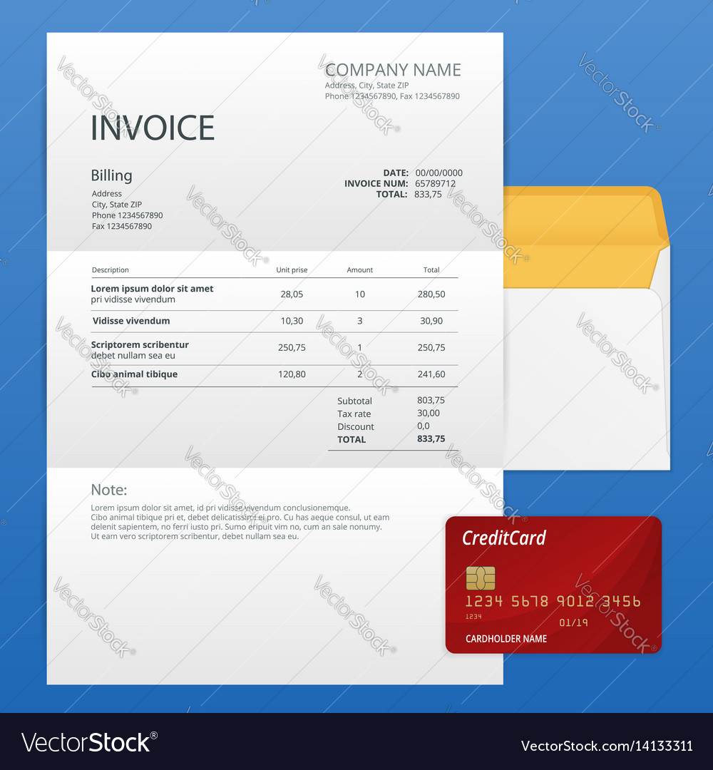 Single invoice and credit card payment and vector image