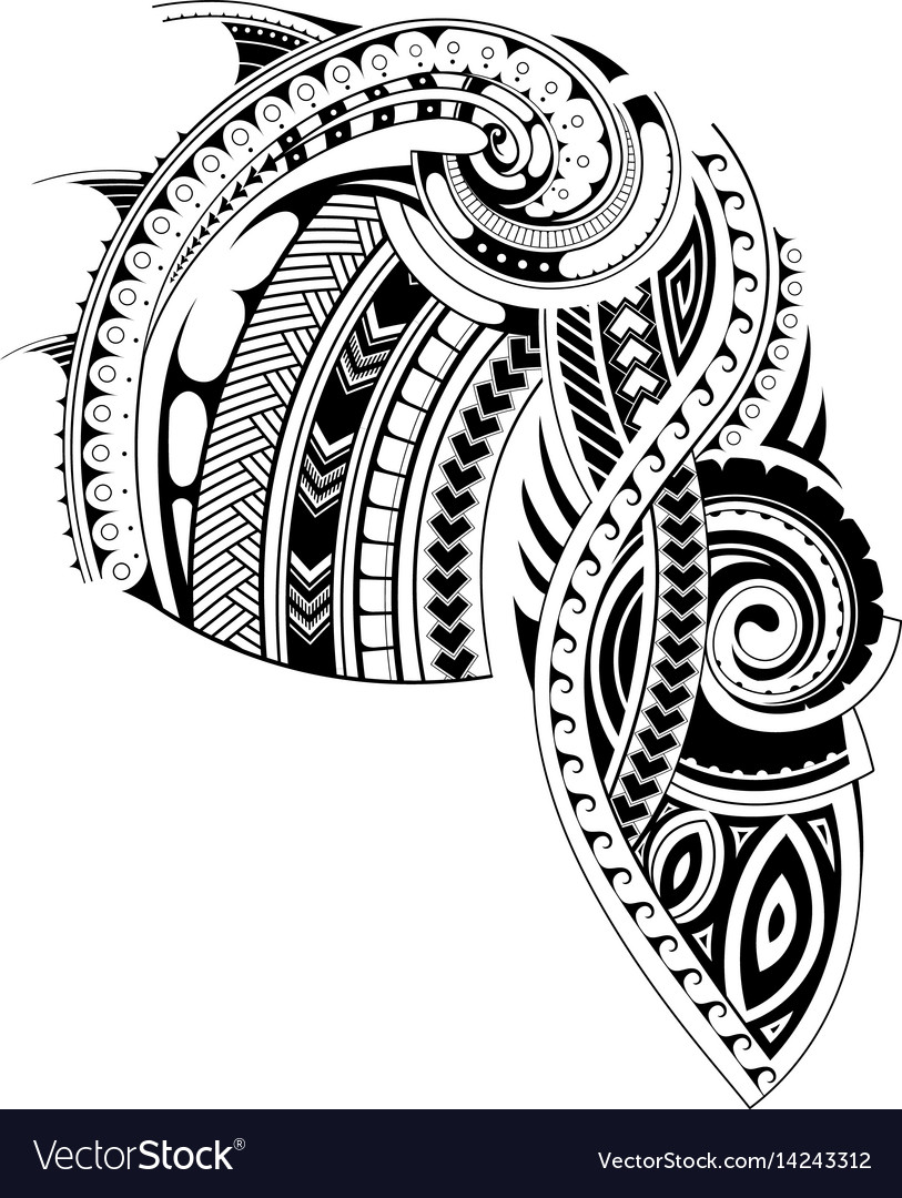Outline Of Polonisian Sleeve: Maori Style Sleeve Tattoo Template Royalty Free Vector