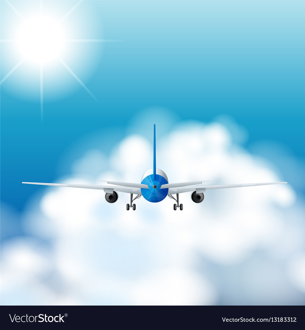 Airplane flying in the sky at daytime vector image