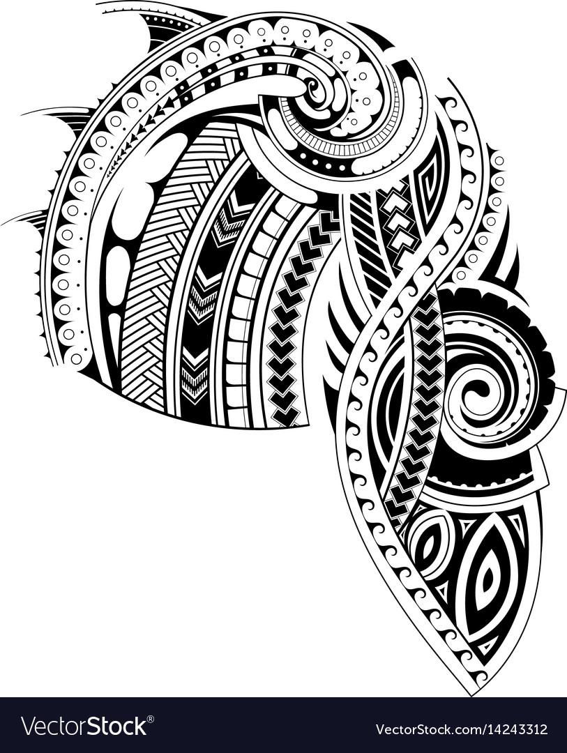 Maori style sleeve tattoo template vector image
