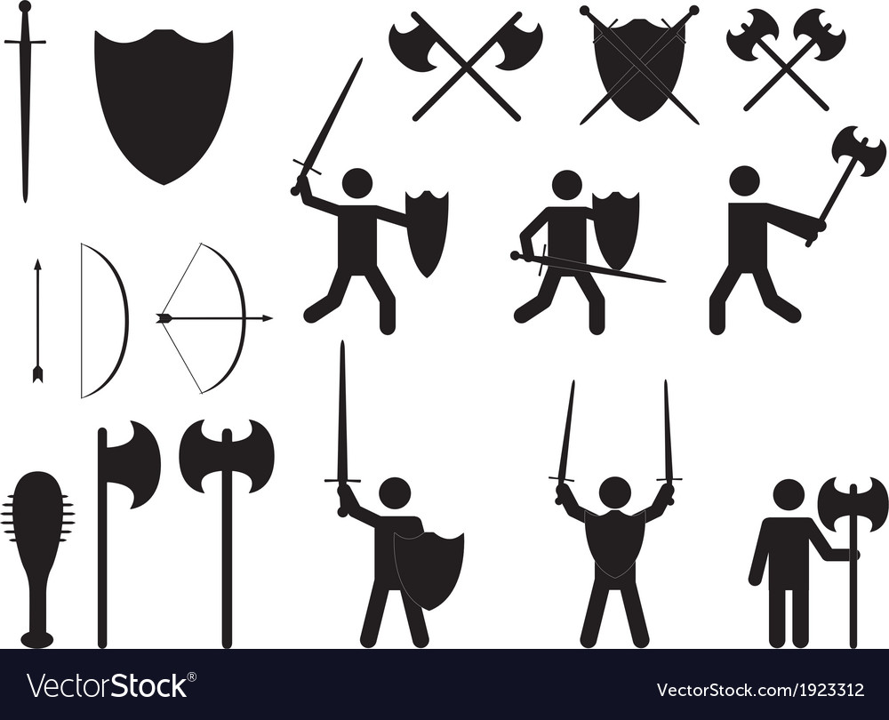 People warriors and medieval weapons vector image