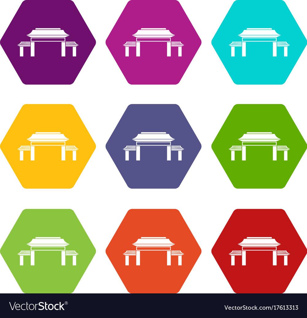 Pagoda icon set color hexahedron vector image
