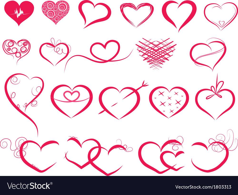 Set of symbol hearts vector image