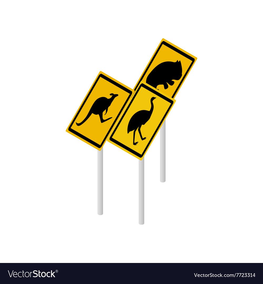 Australian wildlife road signs icon vector image