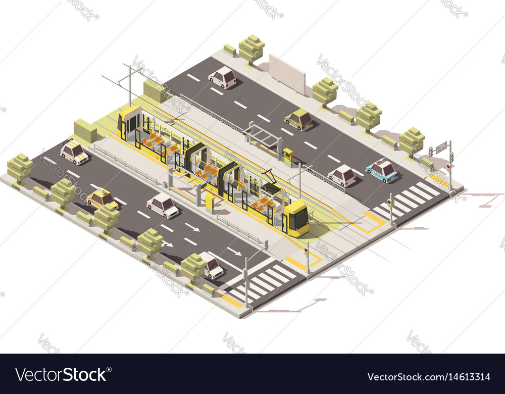 Isometric low poly dedicated tram lane vector image