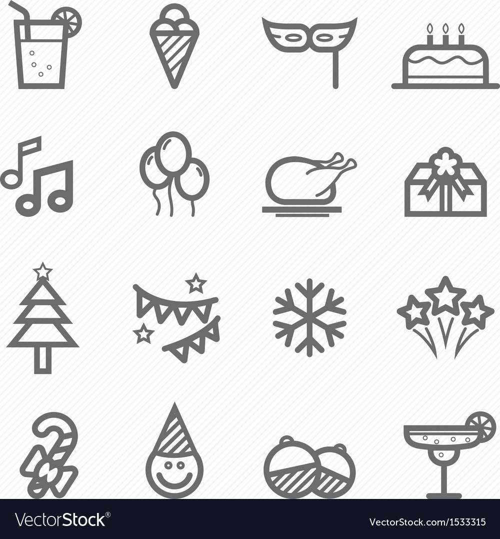 Party symbol line icon set vector image