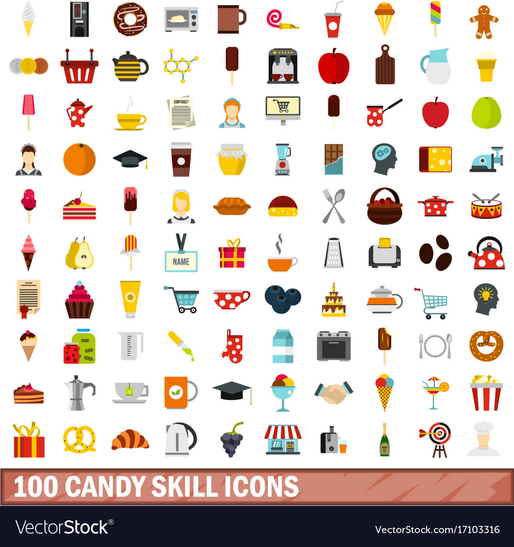 100 candy skill icons set flat style vector image