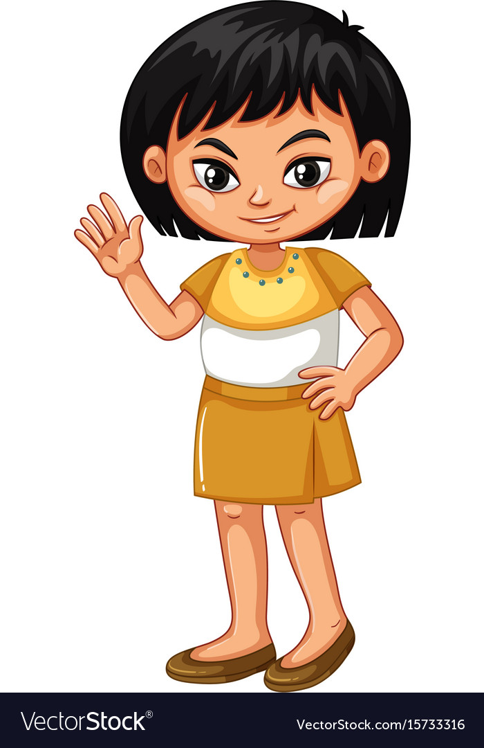 Little girl in brown skirt waving hand vector image