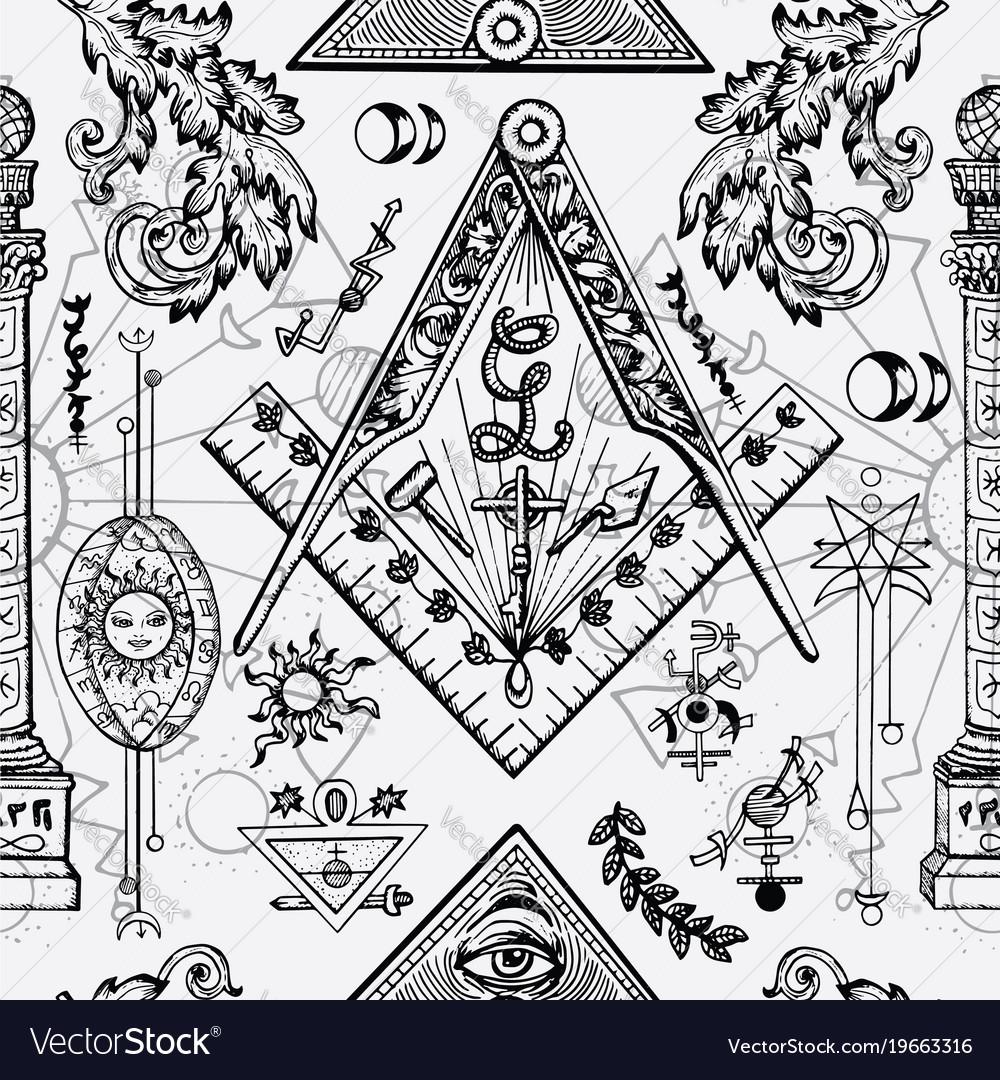 Seamless background with freemason symbols vector image buycottarizona Images