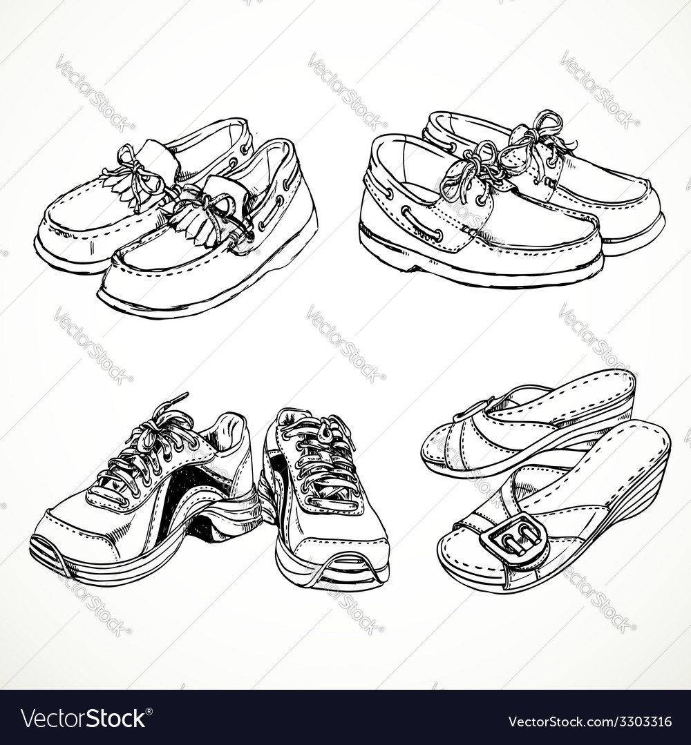 Sketch of shoes for men and women moccasins vector image