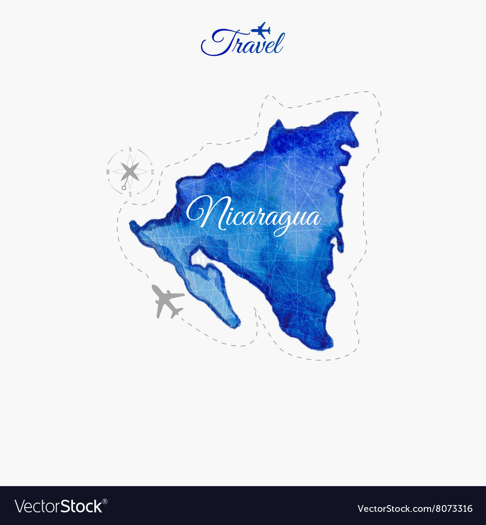Travel Around The World Nicaragua Watercolor Map Vector Image - Where is nicaragua on the world map