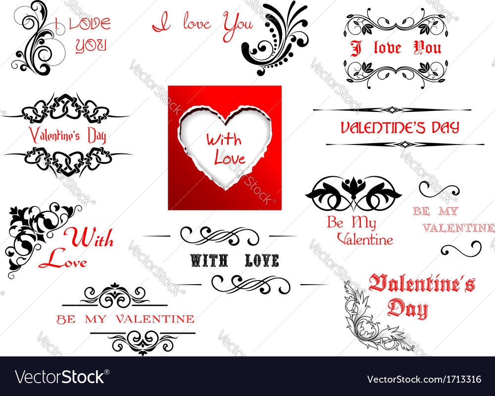 Valentines Day holiday scripts and headers vector image