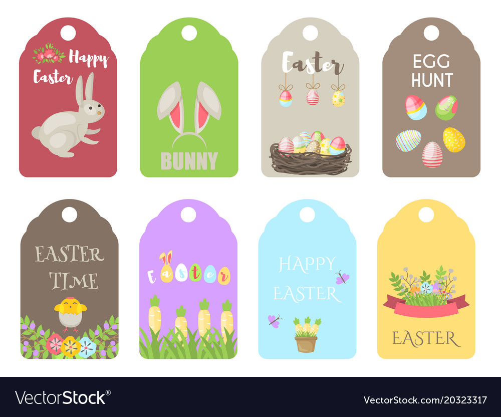 Easter gift tags labels with cute cartoon vector image negle Gallery