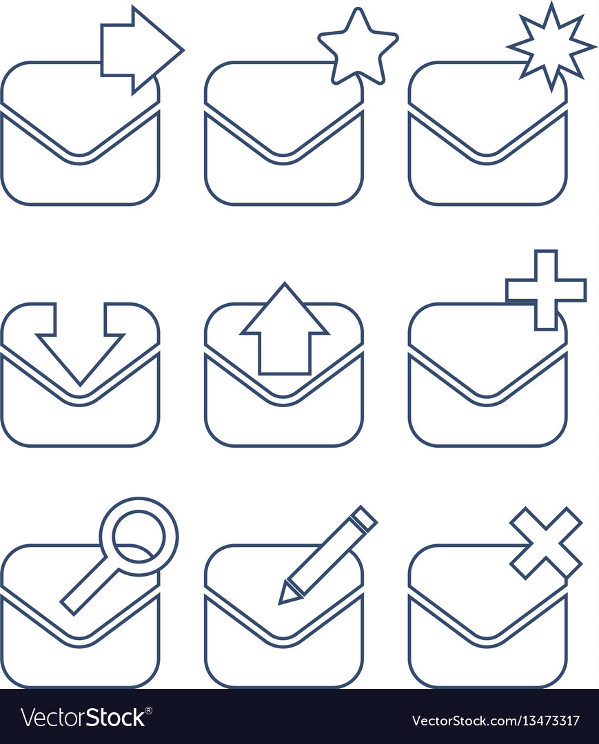 Mail icon set linear icons vector image
