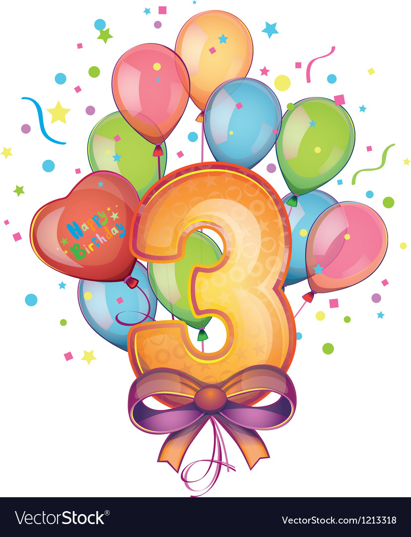 Happy birthday three Vector Image