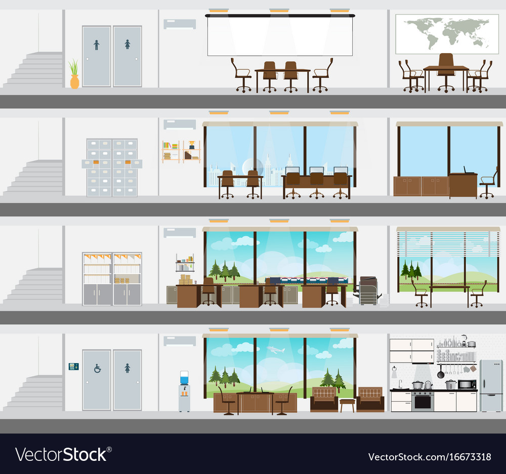 Cutaway office building with interior design plan vector image