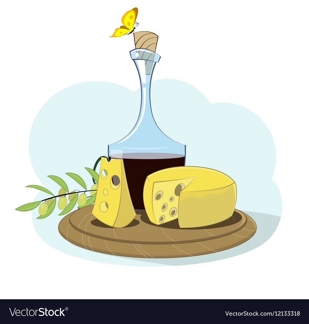 Food fruits olives grape cheese wine vector image