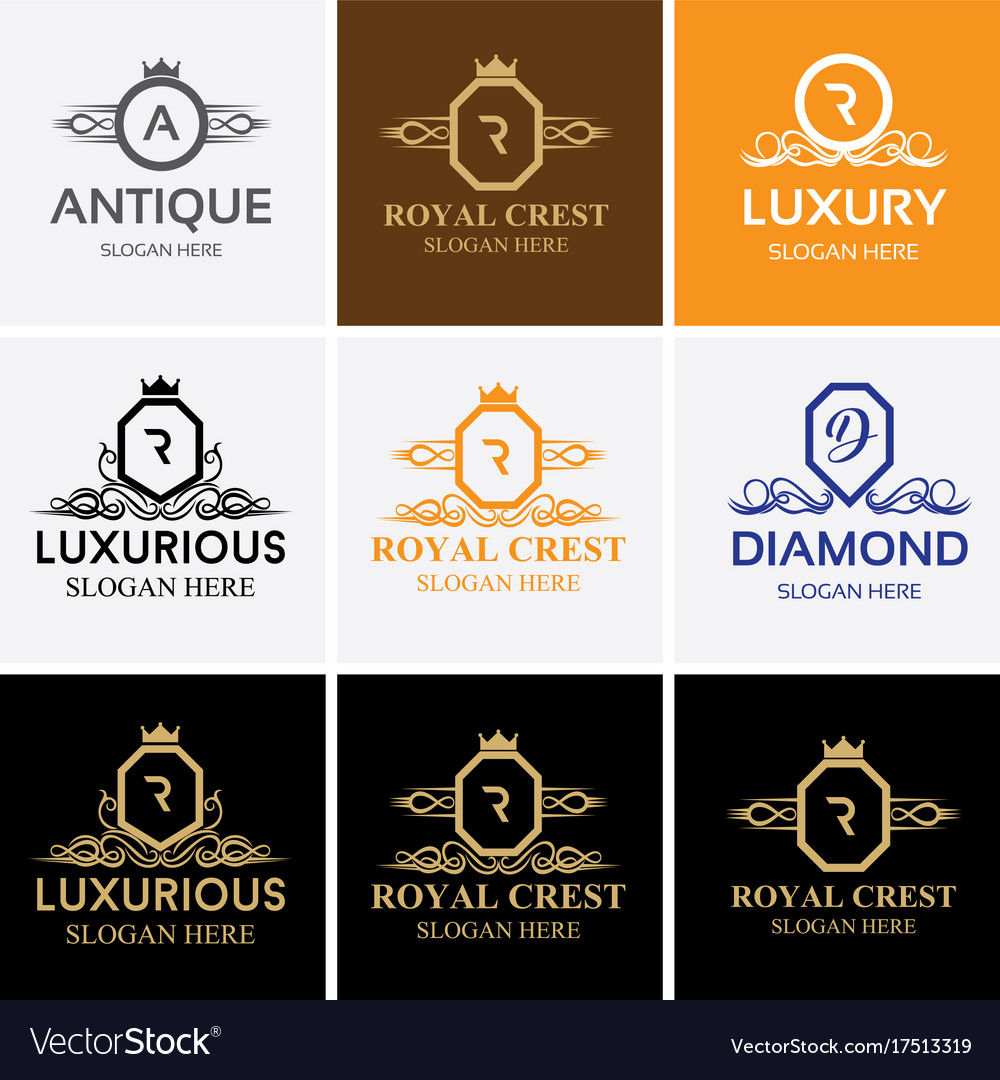 Royal luxury heraldic crest logo set vector image