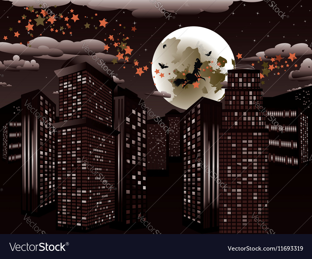 Witch is Coming to the City5 vector image