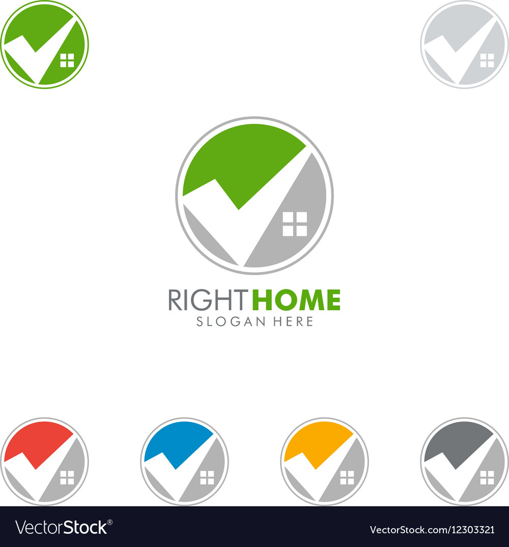 Real estate logo design with home and check vector image