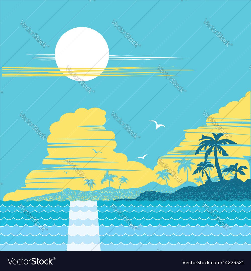 Tropical paradise island palms poster vector image