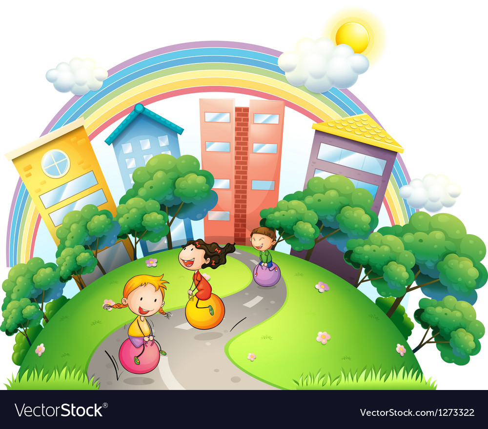 Three girls palying at the street Vector Image