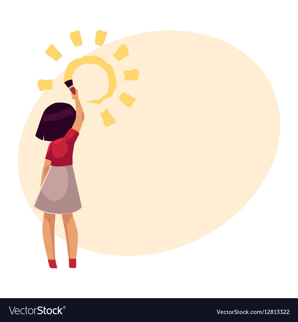 Little girl standing and drawing sun on the wall vector image