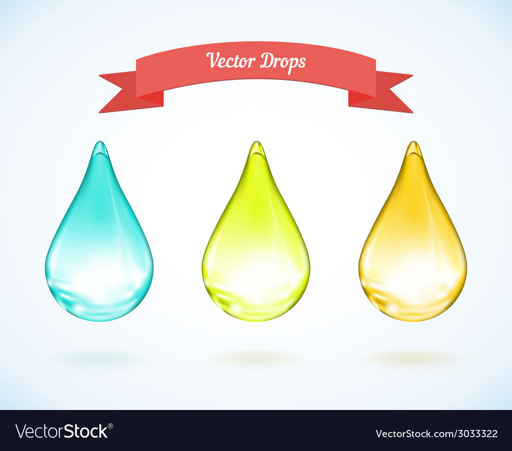 Water drop and drops of oil vector image
