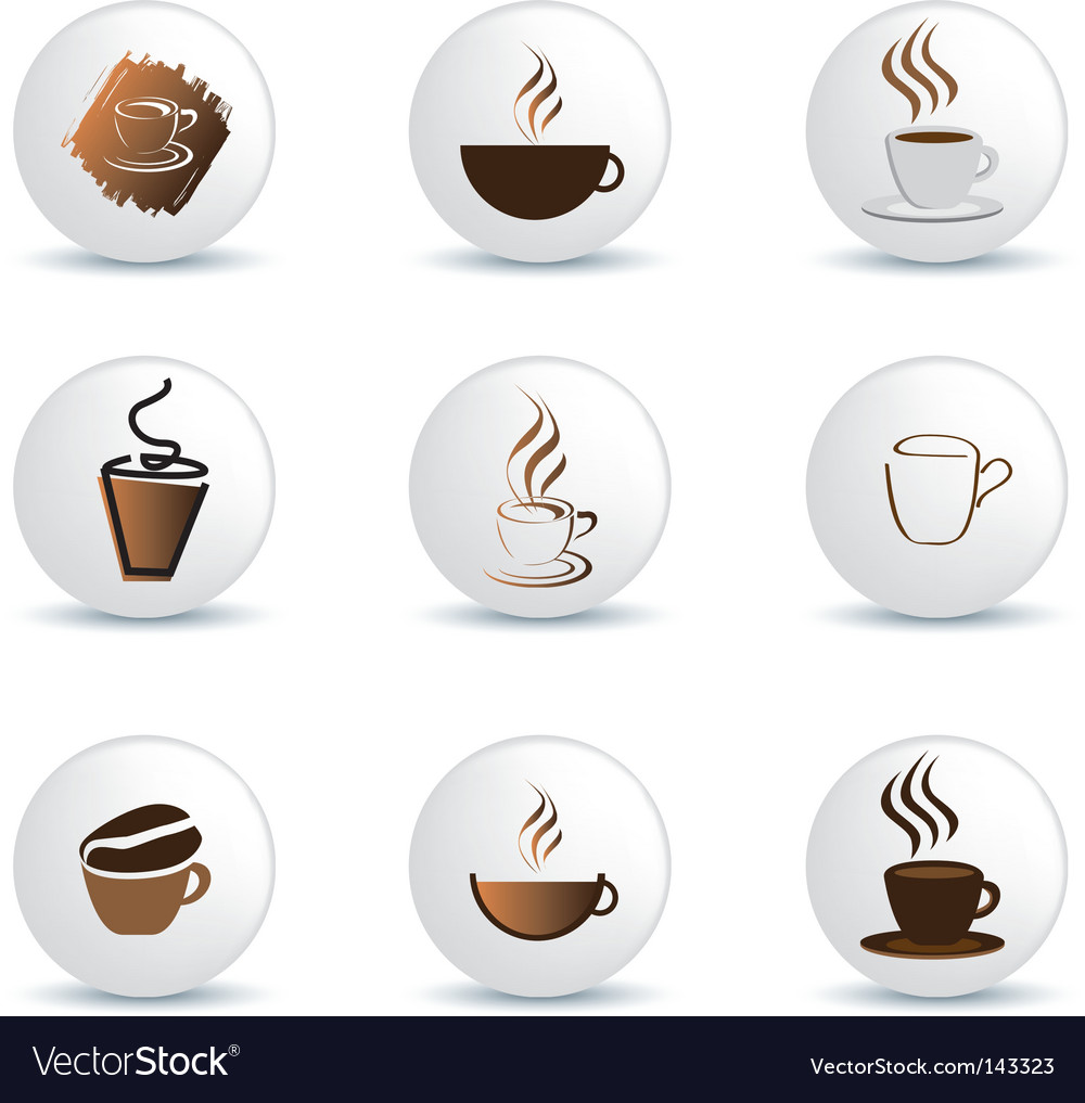 Coffee buttons vector image