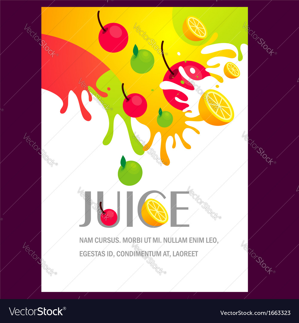 Juice fruit liquid drops splash colorful backgroun vector image