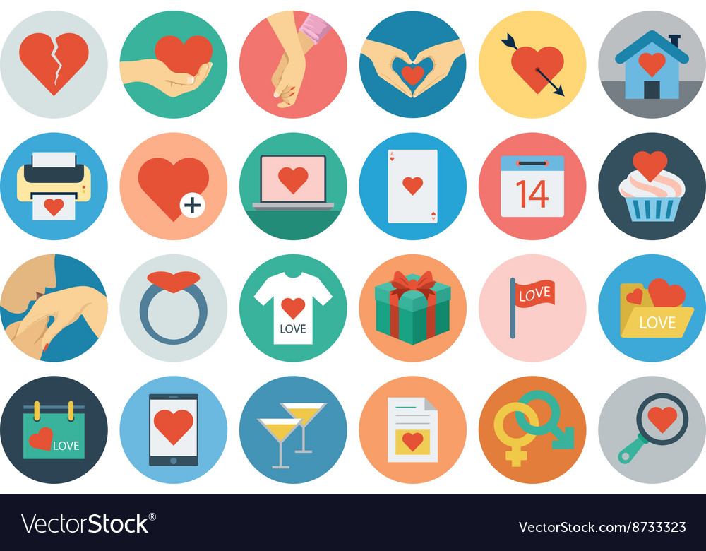 Love and Romance Flat Colored Icons 2 vector image