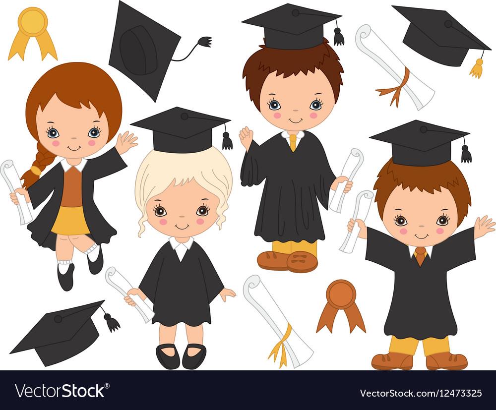 Little Kids Graduating vector image