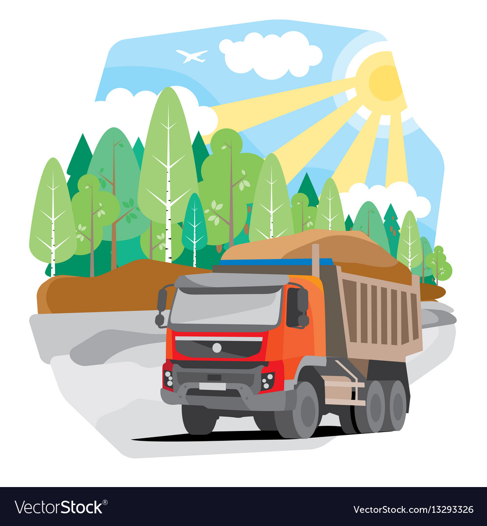 Drawing red dump truck sand vector image