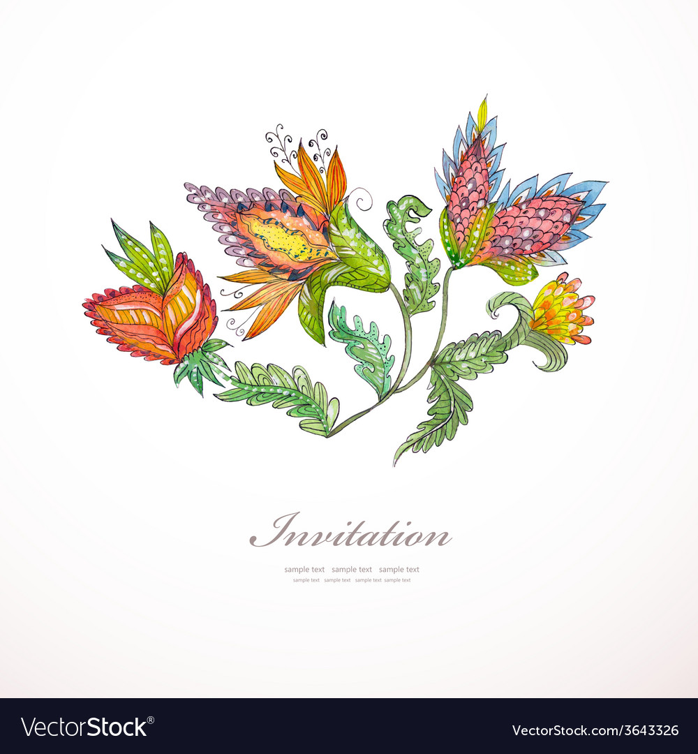 Invitation card with exotic abstract flowers for vector image