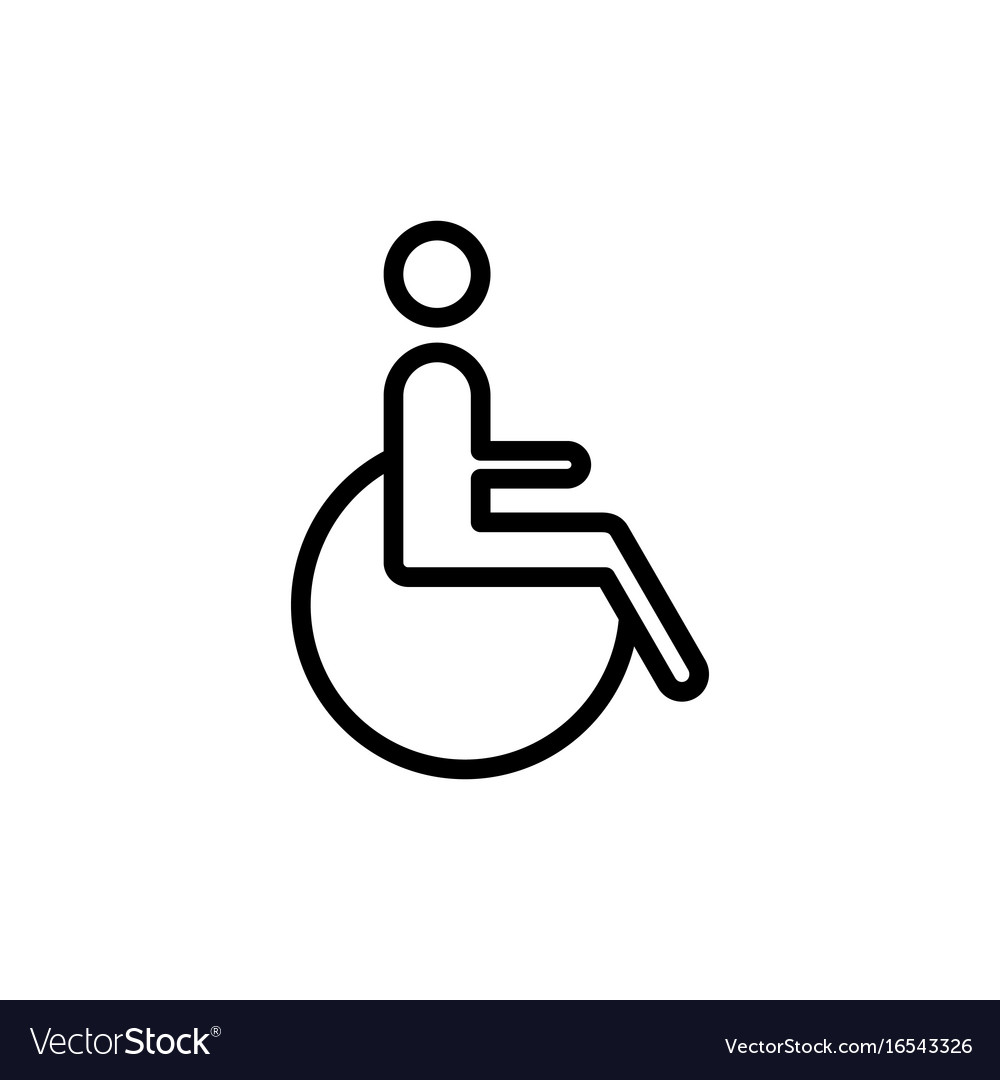 Line disabled handicap icon on white background vector image